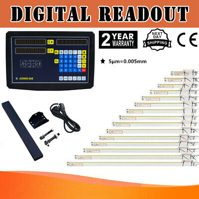 2 Axis Dro Kit Digital Readout Display For Milling Lathe Machine Linear Scales
