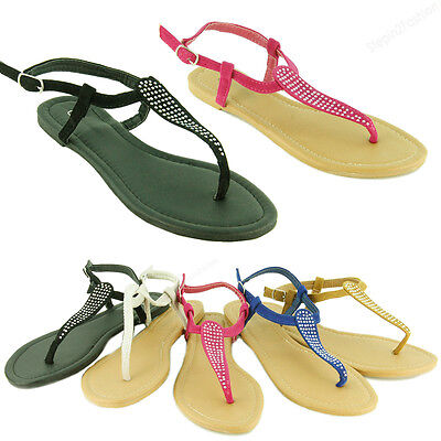 New Womens Gladiator Flat Sandals Dressy Roman Thong Flip Flops Style Size