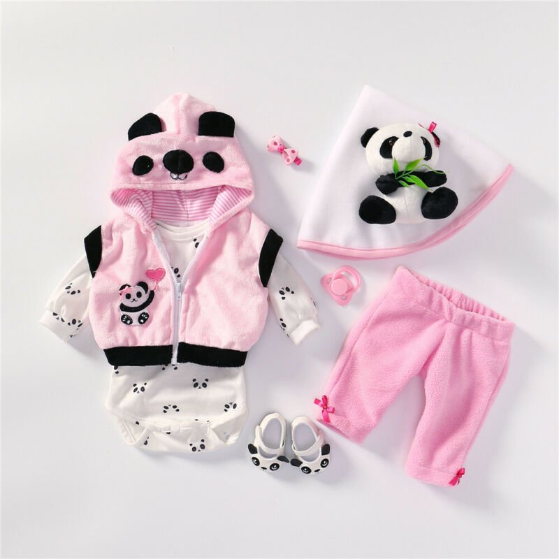 "Reborn Baby Dolls Clothes Panda Pattern Fit for 18-20"" Baby Reborn Doll Girl"