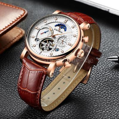 KINYUED wasserdicht mechanische mechanische Uhr Leder Skelett Armbanduhr I9E2