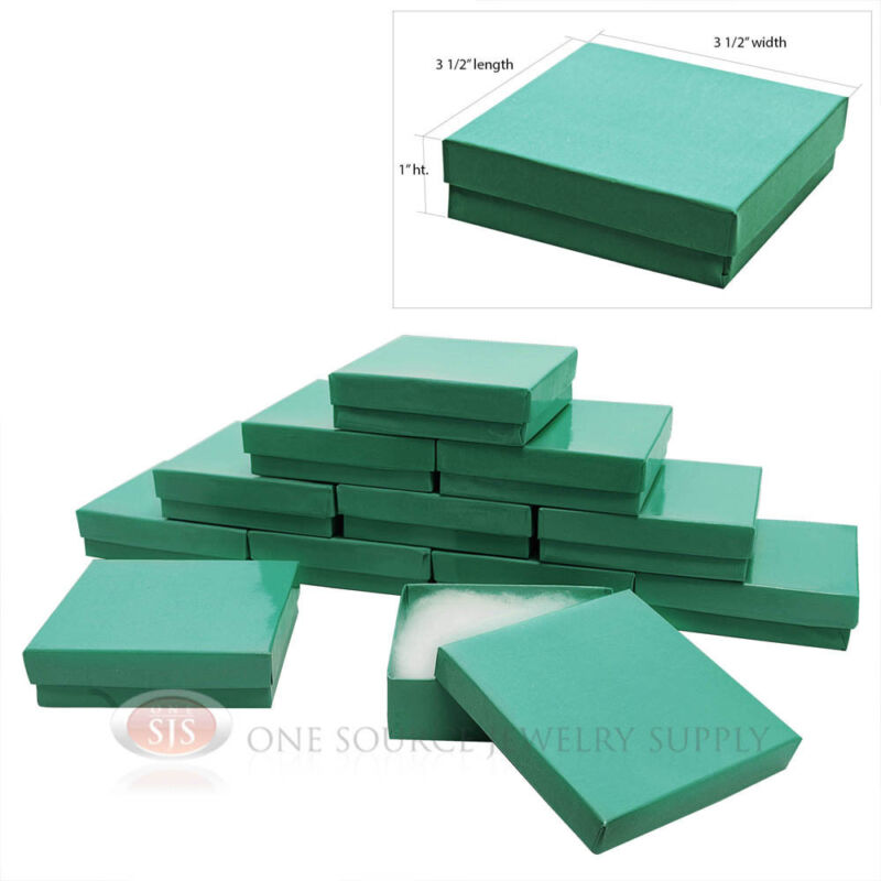 """12 Teal Blue Cotton Filled Gift Boxes 3 1/2"""" X 3 1/2"""" Jewelry Pendant Box"""