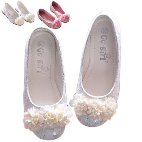 Kids Girls Princess Sandals Crystal Party Shoes Dress Bowknot 4 Color Size 35-26