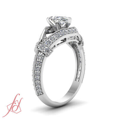 Split Shank Round Diamond Engagement Ring With Pear Shaped In Center GIA 1.20 Ct 2