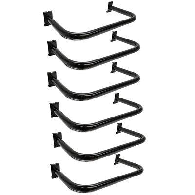 6 Black U Shaped Hangrail Curved Tube Hanger Gridwall Bracket Clothing Rack