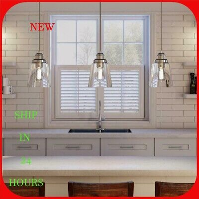 Home Decorators 1-Light Polished Nickel Pendant Clear Glass Shade R9 Clear Glass Chandelier Shade
