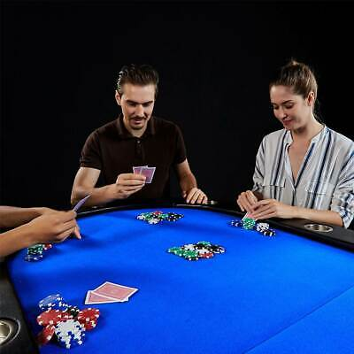 Lancaster 10 Player Blue Felt Casino Style Folding Poker Game Table For Parts  - $136.99