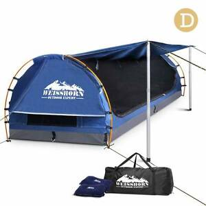 Double Camping Canvas Swag with Mattress and Air Pillow - Blue Melbourne CBD Melbourne City Preview