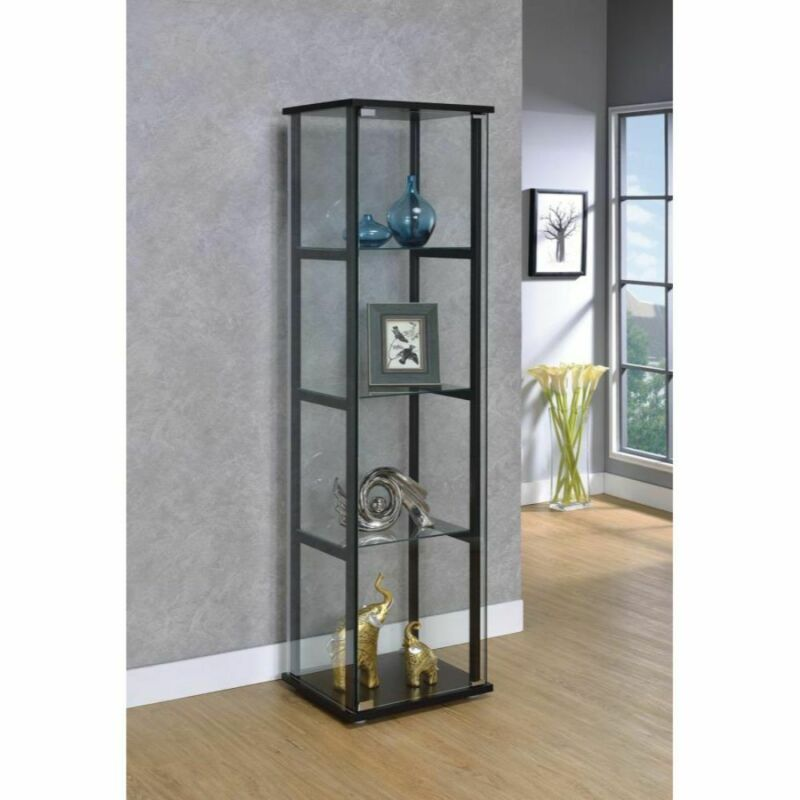 4-Shelf Coaster Furnishings Curio Cabinet Glass Storage 16.8x14.2x63.7 in. Black