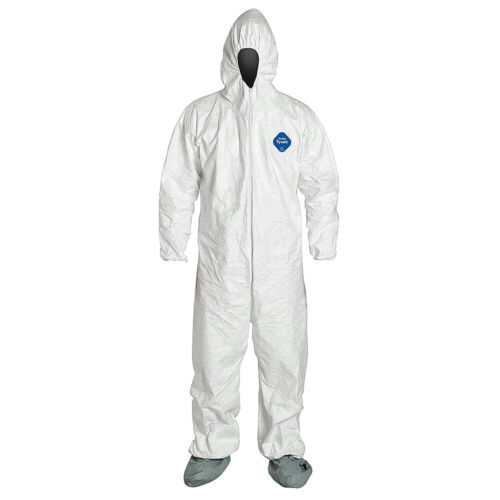 Coverall Hazmat Suits w/ Elastic Hoodies, Booties & Sleeves. *1 SUIT* 2XL