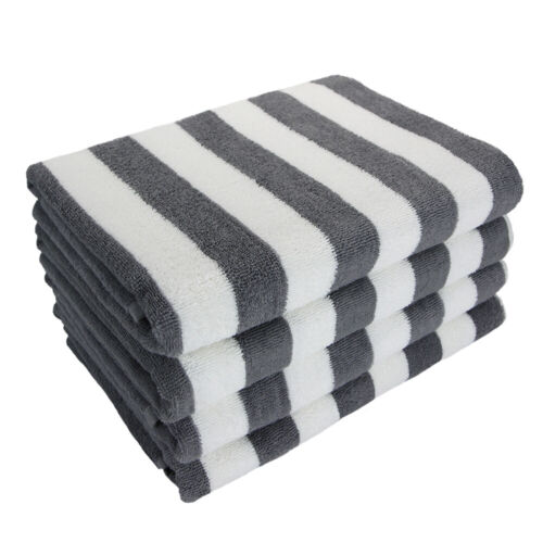 Cabana Beach Towel 4 Packs - 30 x 70 Extra Large Striped Cotton Pool Towels