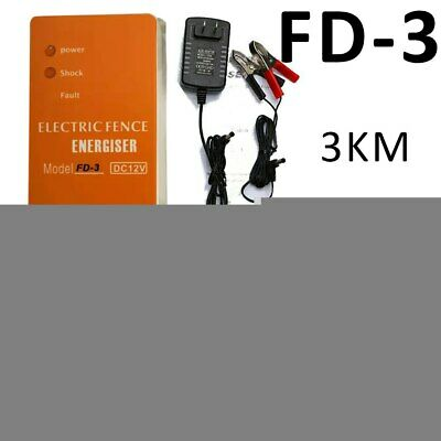 3km Fence Charger Farms Livestock Electric Energizer Poultry Pulse Voltage Fence