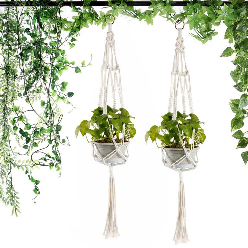 4x Garten Geflochtenes Seil Hängekorb Blumenampel Blumen Topfhalter kastenhalter