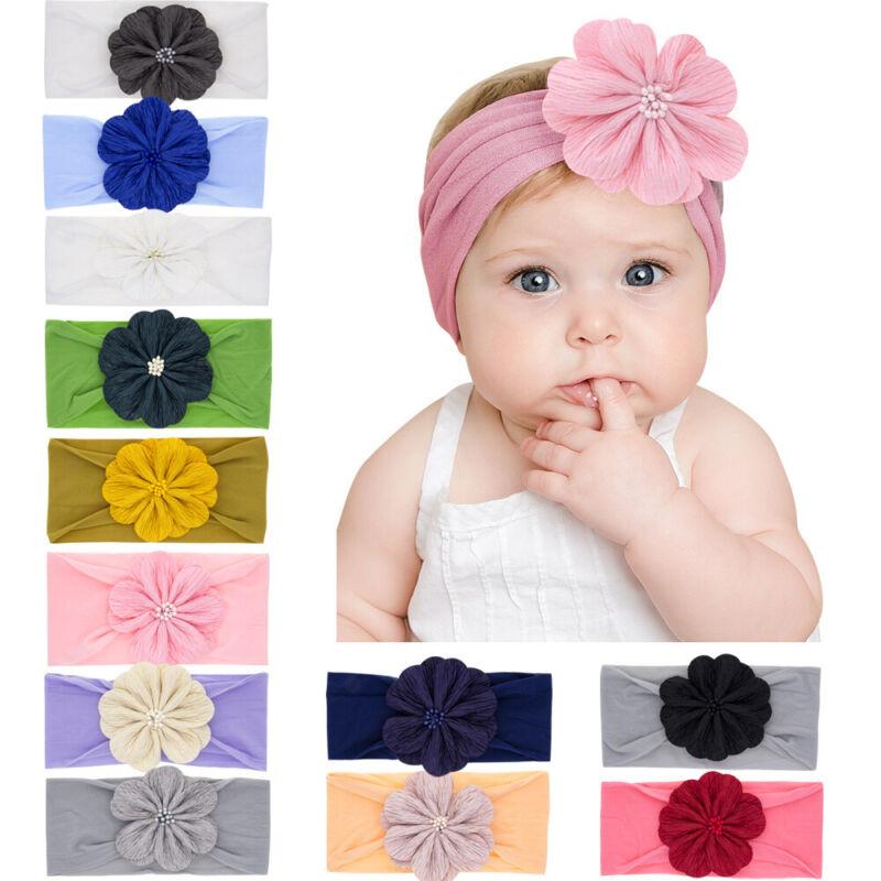 Light Pink Cotton Flower Headband Hair Band Girls Baby Infant Toddler Children