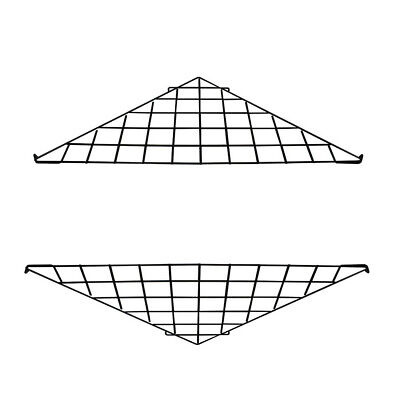 2 Pc - Black Corner Triangle Wire Grid Shelf Slat Grid Panel  24 x 24 x 32
