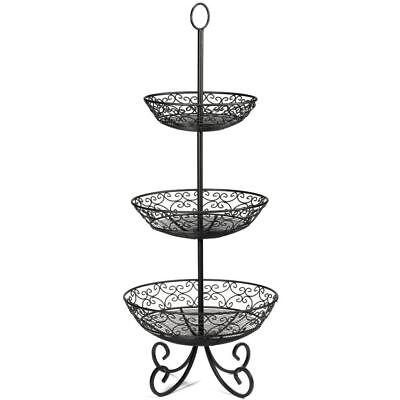 Tablecraft Mediterranean Style 3-tier Black Metal Decorative Display Stand -