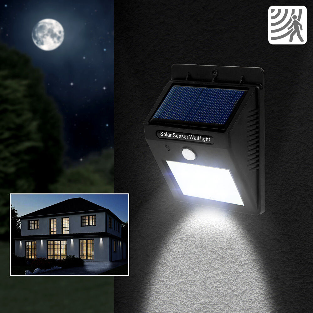 6x 6 led solar au enleuchte wandlampe gartenleuchte bewegungsmelder lampe garten eur 63 99. Black Bedroom Furniture Sets. Home Design Ideas