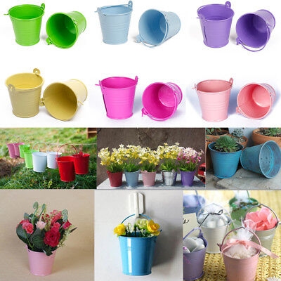 Mini Bucket Colored Metal Pails Candy Box Wedding Party Favour Box Gift - Colored Metal Buckets