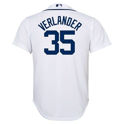 Justin Verlander MLB Majestic Detroit Tigers Cool Base Home Jersey Youth (S-XL) (Detroit Tigers White Majestic Jersey)