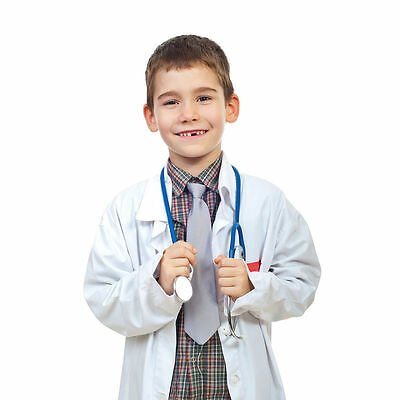 Kids Doctor Coat (New Boys Girls Doctor Scientist White Lab Coat Soft Medical Coat for)