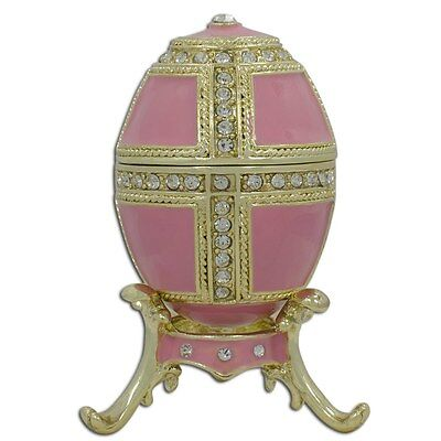 """2.75"""" Pink Enamel Faberge Inspired Russian Egg"""