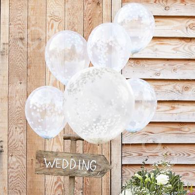 WHITE CONFETTI BALLOONS Helium Latex Party Decorations - Regular 12