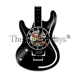 Guitar Vinyl Record Clock Rock N Roll Instrument Wall Clock Music Lover Gift