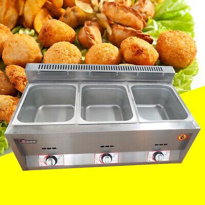 18l 3 Pan Commercial Ngpropane Gas Fryer Food Warmer Steam Buffet Countertop