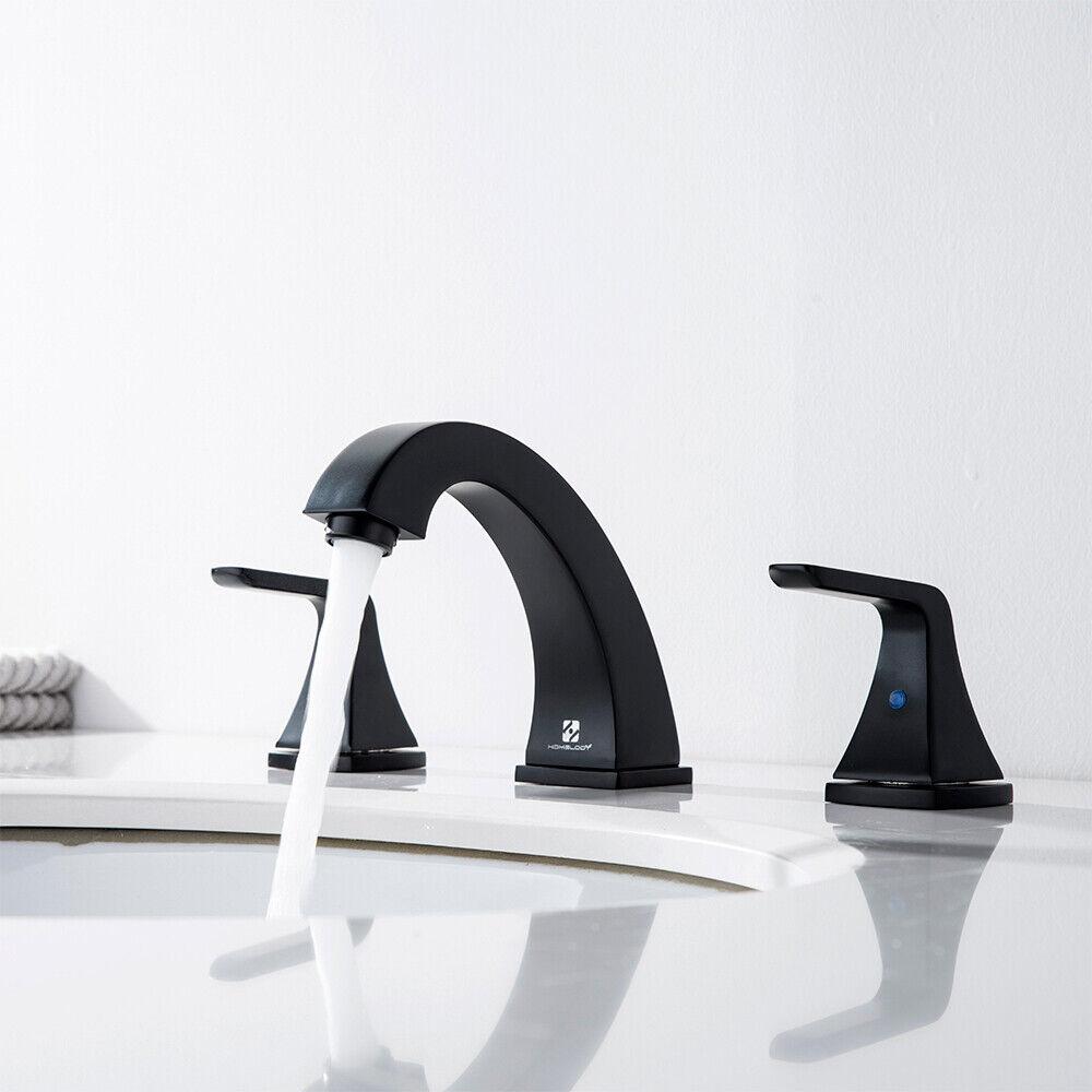 Widespread 8'' Bathroom Basin Sink Faucet 3 Hole Brass Mixer Tap w/ Pop Up Drain 10