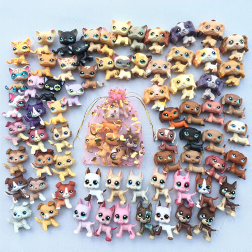 Littlest Pet Shop Lot Lps Toy 1 Cat 1 Collie 1 Spaniel 1 Dachshund 1 Great Dane