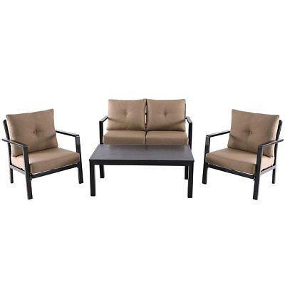 4 PCS Outdoor Patio Aluminum Furniture Sofa Set Table Chair Cushioned Deck Seat