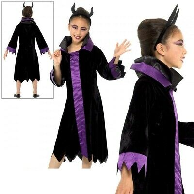 Kinder Böse Königin Maleficent Raven Mädchen Halloween Kostüm Neu ()