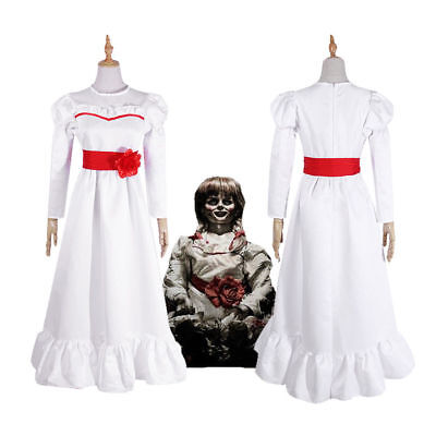 Annabelle Creation Halloween Horror Doll White Dress Cosplay Costume Fancy Dress](Annabelle Doll Halloween Costume)