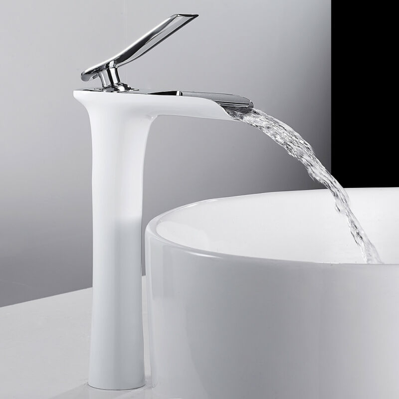salle de bain cascade bassin robinets tall counter top mixer laiton blanc noir