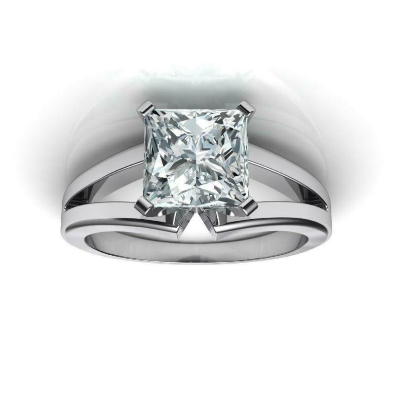 Ladies Diamond Ring Princess Square Solitaire 18 Kt White Gold 0.57 Ct Vs2