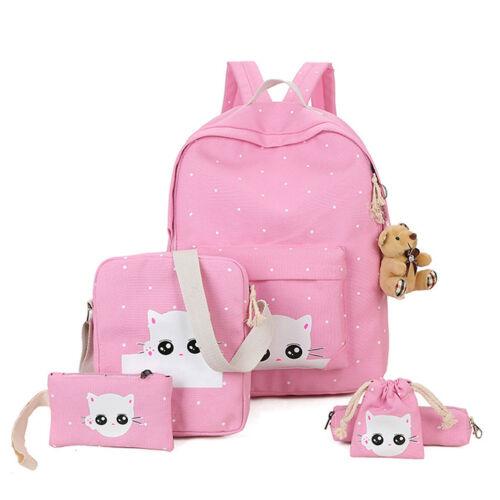 5 Set Kid Backpack Cute Cat School Bag For Teenage Girl Canv
