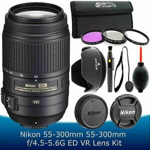 Nikon 55-300mm f/4.5-5.6G ED AF-S DX VR Lens Kit for D5100 D5200 D5300 D5500 SLR
