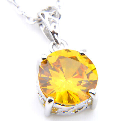 Platinum Plated Round Cut Natural Honey Citrine Necklace Pendants With Chain
