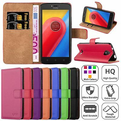 Moto C Case, Leather Wallet Book Flip Pouch Card Case Cover For Motorola Moto C