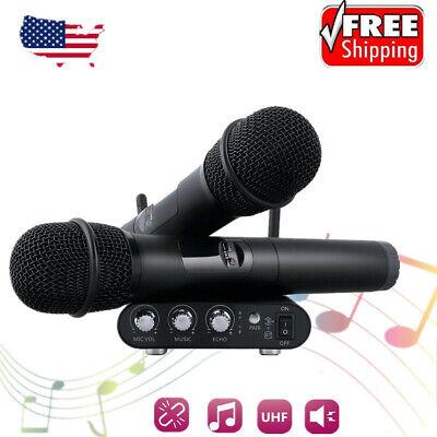 Wireless Bluetooth Microphone System UHF 10Channel Dual Handheld Karaoke Mic Kit Uhf Wireless Karaoke Microphone System