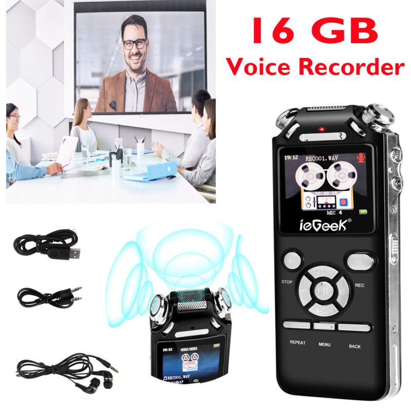 16GB Digital Diktiergerät Tragbar Aufnahmegerät MP3 Audio Sound Voice Recorder -