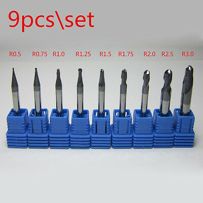 9pcs Radius 0.5 To 3.0mm Hrc50 2 Flutes Tungsten Carbide Ball Nose End Mill Set