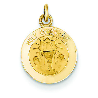 14K Yellow Gold Holy Communion Round Charm Pendant MSRP $239 ()