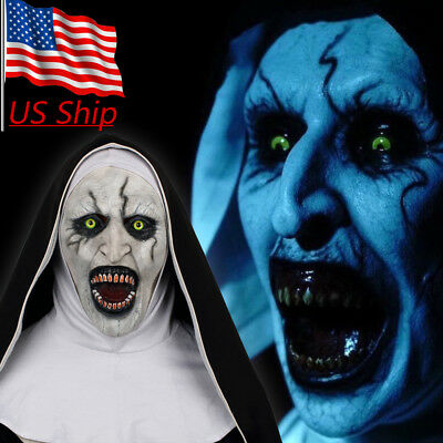 Cosplay 2018 The Nun Mask The Conjuring Valak Mask Halloween Horror Scary Props (Scary Nun Mask)