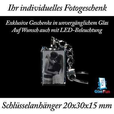 3D Schlüsselanhänger Glas Kristall Geschenk Foto Graviert Glasfun 20x30x15 mm