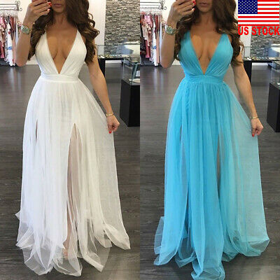 Women's Lace Long Formal Wedding Evening Ball Gown Party Prom Bridesmaid Dress Wedding Formal Gown