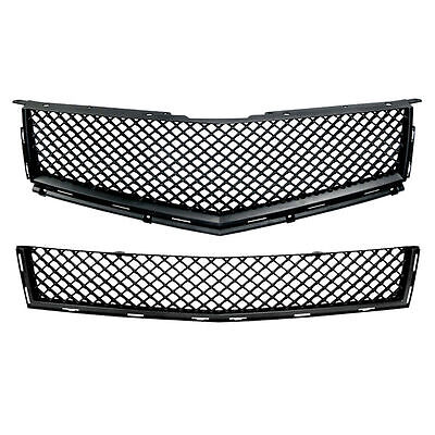 Black Bentley Style Upper/Lower Mesh Replacement Grille for 2010-13 Cadillac SRX Bentley Style Mesh Grille