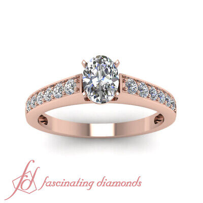 Pave Set 3/4 Ct Oval Shaped Conflict Free Diamond Engagement Ring GIA Certified 1