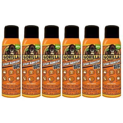 Gorilla Adhesive Spray Mist Heavy Duty Permanent Photo Safe 14 Oz Clear 6-pack