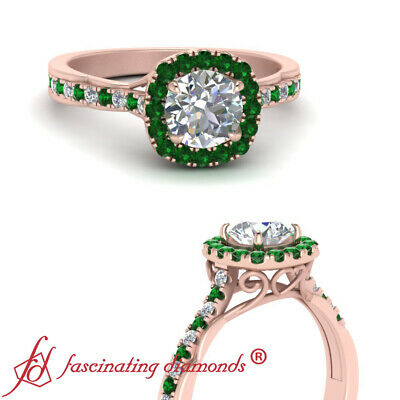 3/4 Carat Round Cut Diamond And Emerald Antique French Pave Halo Engagement Ring