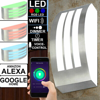 RGB LED Smart Casa Exterior Pared Luz Regulable Jardín Hof Lámpara Alexa...